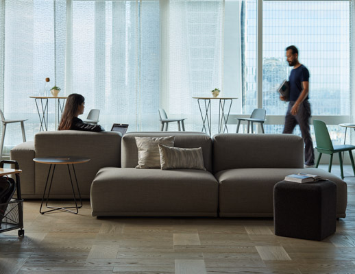 Rockwell Unscripted Occasional Tables bistro table café table wire base side table Rockwell Unscripted mobile storage cart k. lounge stool Muuto Five Pouf Muuto Nerd bar stool Muuto Connect Modular Sofa Muuto Mingle cushion pillow immersive planning commu