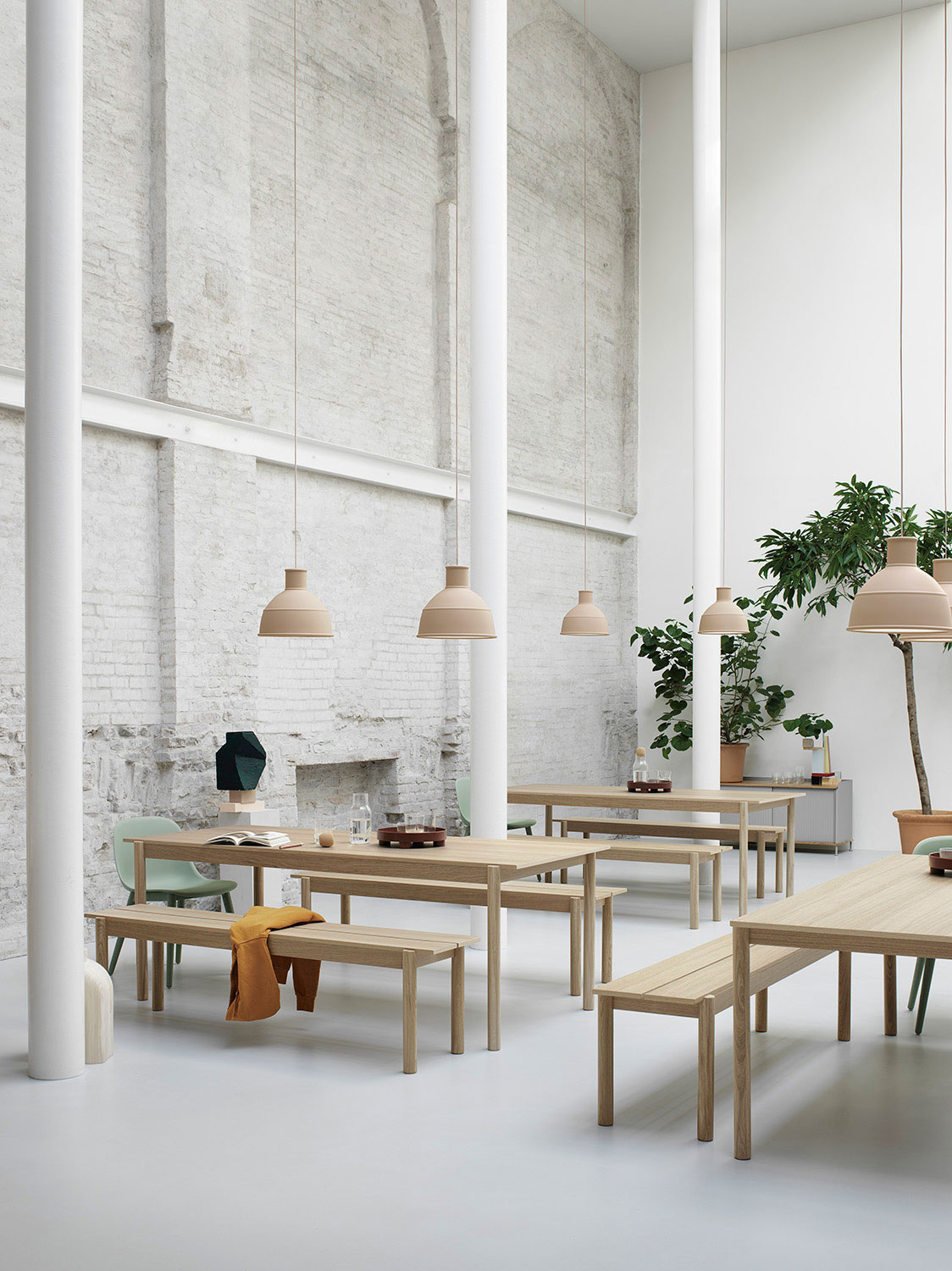 Muuto Linear Wood Table & Bench Cafeteria Setting