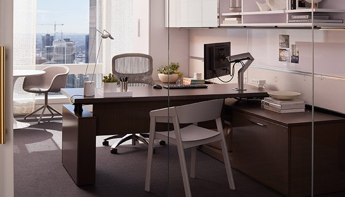 Reff Profiles™ Height Adjustable Private Office with Muuto guest seating