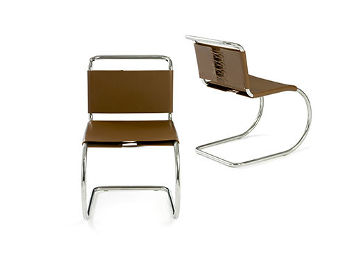 ... Mies Van Der Rohe Armless Side Chair In Brown Leather ...