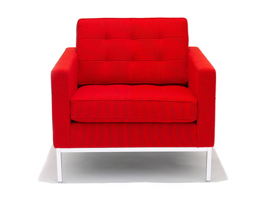 Knoll red Florence Knoll Lounge Chair in KnollTextiles Cato red upholstery