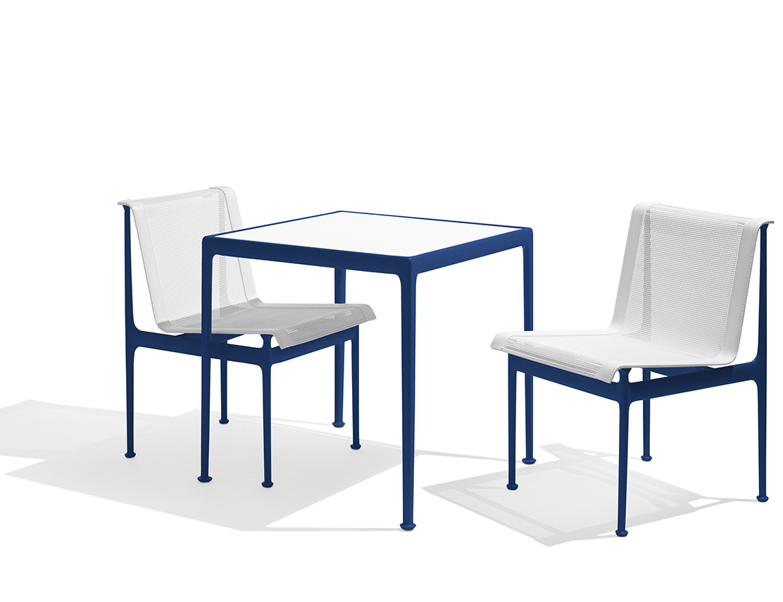 1966 Collection Dining Armless Chair Square Dining Table blue Richard Schultz patio outdoor furniture