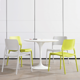 Spark Series green and white stacking chairs installation