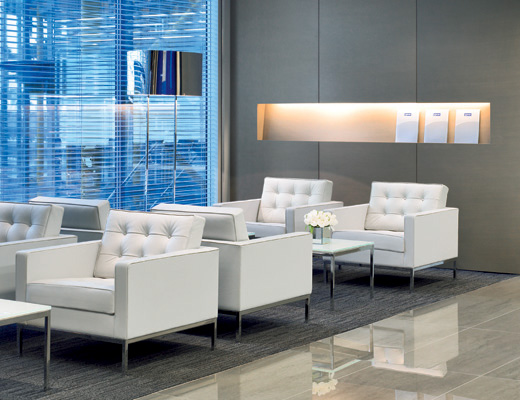 Florence Knoll Lounge Chair, Coffee Table in reception area
