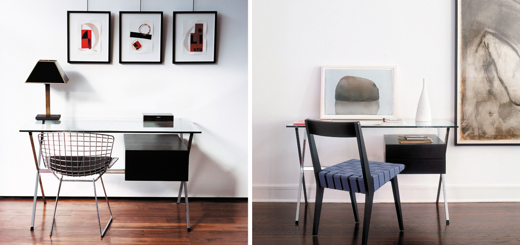 Home Office Albini Desk Bertoia and Risom Side Chair