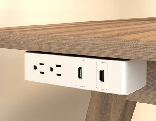 Table Undermount Electrical Outlet, 202, White Body/White Bracket