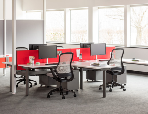 ... Knoll Sit To Stand Adjustable Height Benching System With Red Privacy  Screens And Wire Management ...