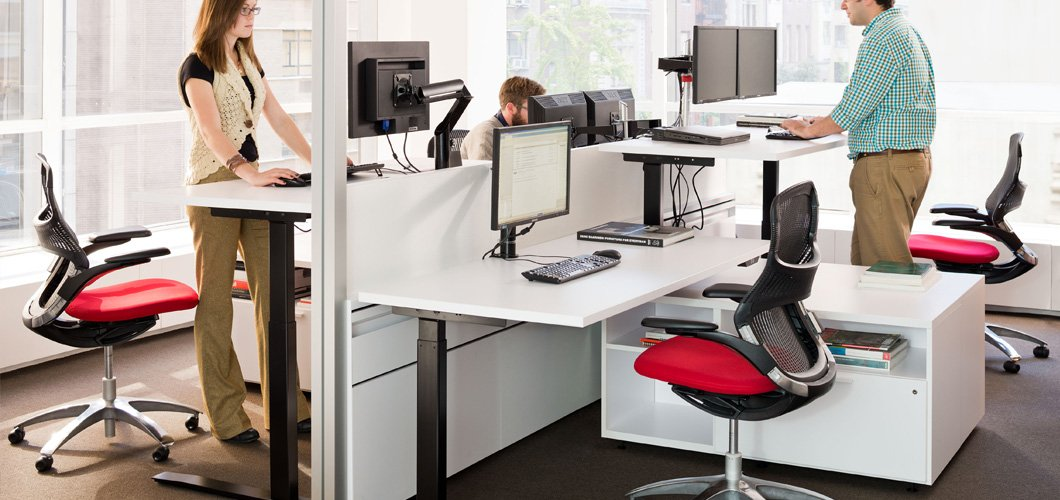 Universal Height Adjusatble Sit To Stand Tables And Desks By Knoll
