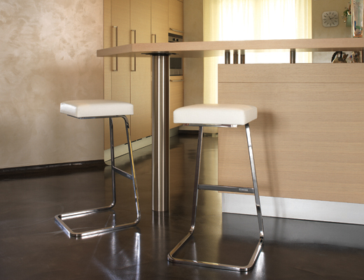 Four Seasons white leather barstool