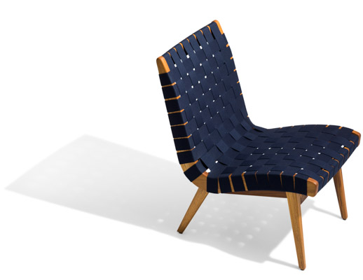 Navy Sunbrella Webbing Teak Frame Outdoor Lounge Chair; Risom ...