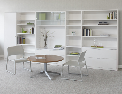 Template defines space in the open plan environment and creates efficient open plan and private offices