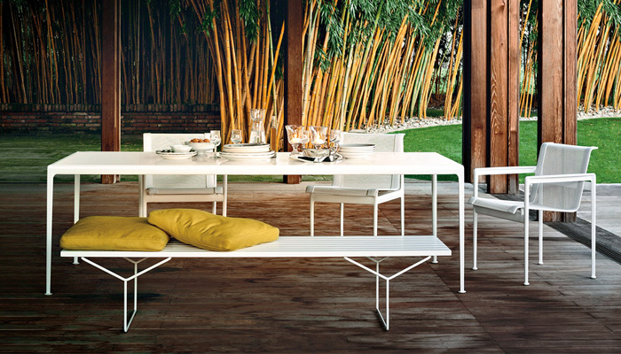 1966 Dining Table, 1966 Dining Chairs, Bertoia Bench