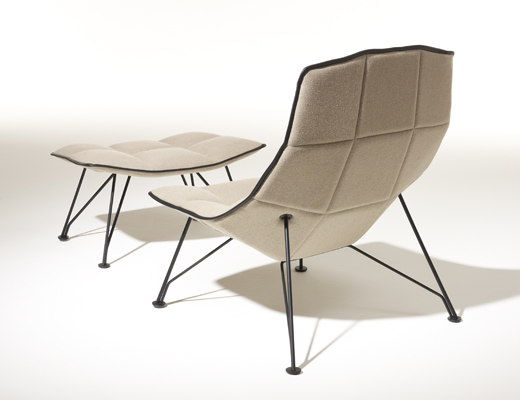 Jehs+Laub Lounge chair in white Cornaro KnollTextiles upholstery