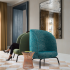 Woodland and Seurat on Hightower chairs, Grand Boulevard Wallcovering & Lorelei Drapery