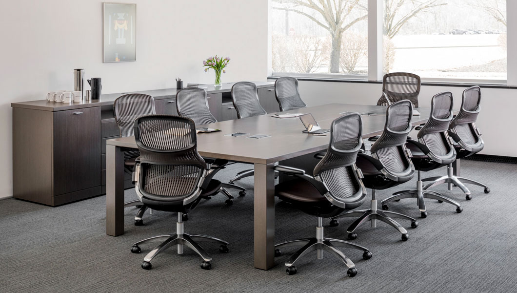 Knoll Shared Spaces Assembly Space Conference Room with Reff Table and Generation by Knoll Chairs