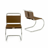 Mies van der Rohe armless side chair in brown leather