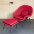 Balance Diva March 2016 Red Upholstery KT Collection Saarinen Womb Chiar and Ottoman