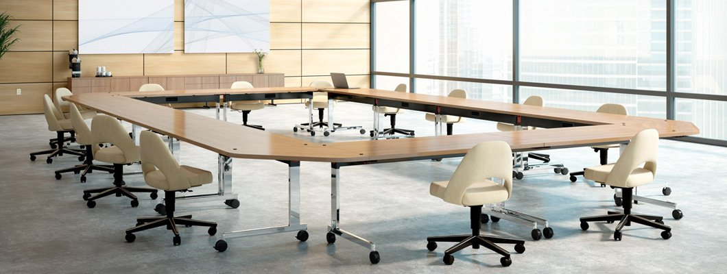 Knoll training tables with casters, flip-top, ganging options.