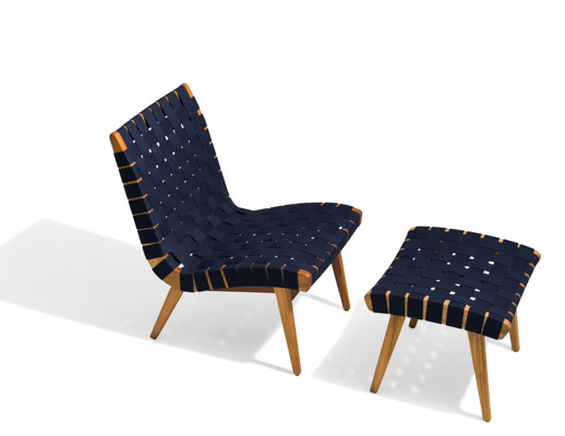 With Risom Ottoman Navy Sunbrella Webbing Teak Frame lounge chair