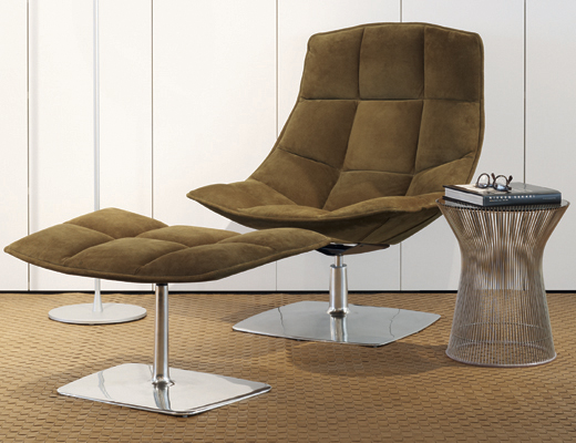 Jehs+Laub Lounge Chair and ottoman with aluminum pedestal base
