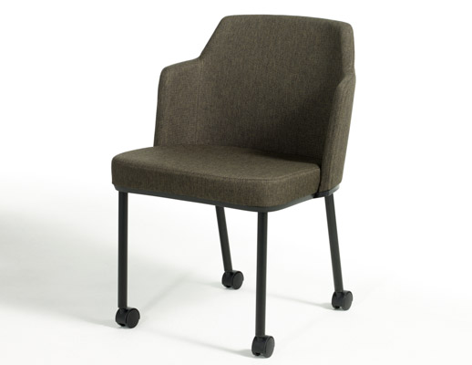 casters side seating mobile upholstered 4-leg 4 leg