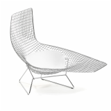 Bertoia, Asymmetric, Chaise, wire, frame, and, white, leather, seat, pad