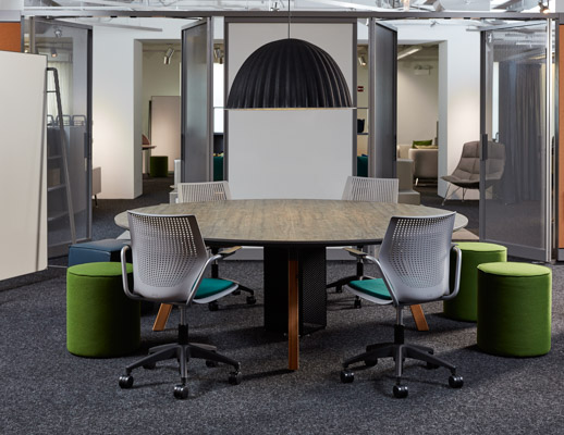 neocon 2018 rockwell unscripted round table multigeneration by knoll conversation board creative wall shared spaces