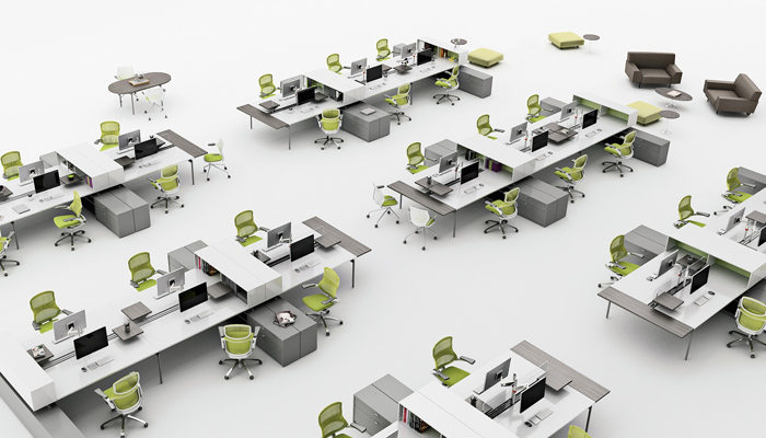 Open plan design and planning knoll for New office layout design
