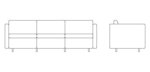 W, D, H, Seat H, Arm H. 1053C S Pfister Petite Sofa ...