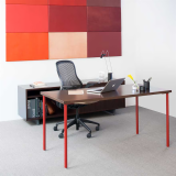 Knoll Simple Tables with red legs