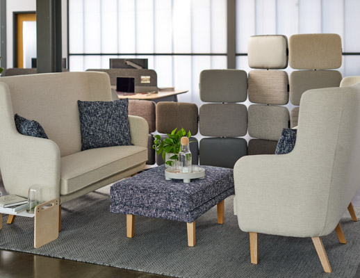rockwell unscripted highback settee highback chair lounge modular lounge ottoman lap tray tell screens individual refuge enclave privacy screen space delineation muuto ply rug muuto accessories