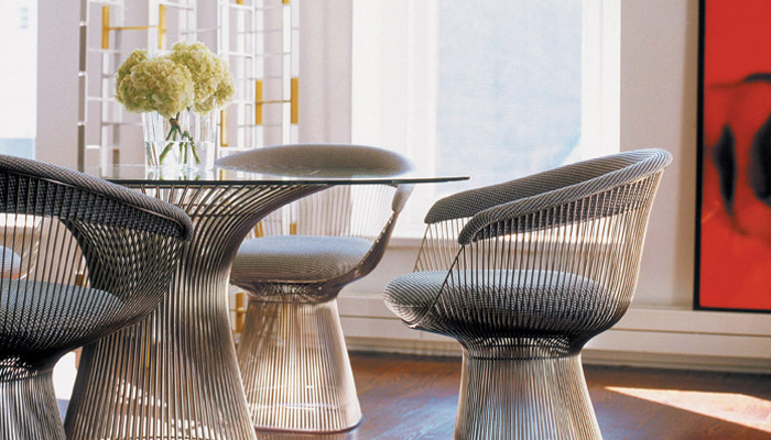 Platner Dining Table, Platner Arm Chairs