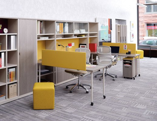 Knoll Simple Tables and Template Storage Wall
