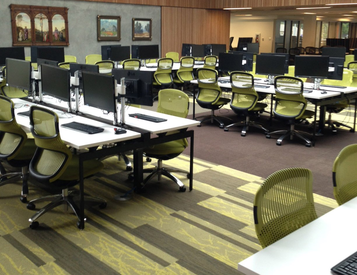 University of Portland Clark Library Antenna Workspaces Generation Chairs Antenna Big Table Sapper50 Monitor Arm