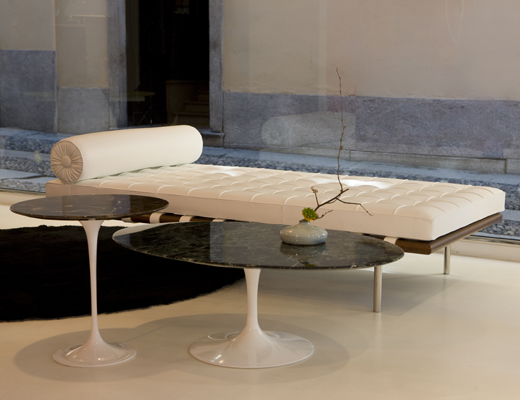 Barcelona Couch, Saarinen Side and Coffee Table