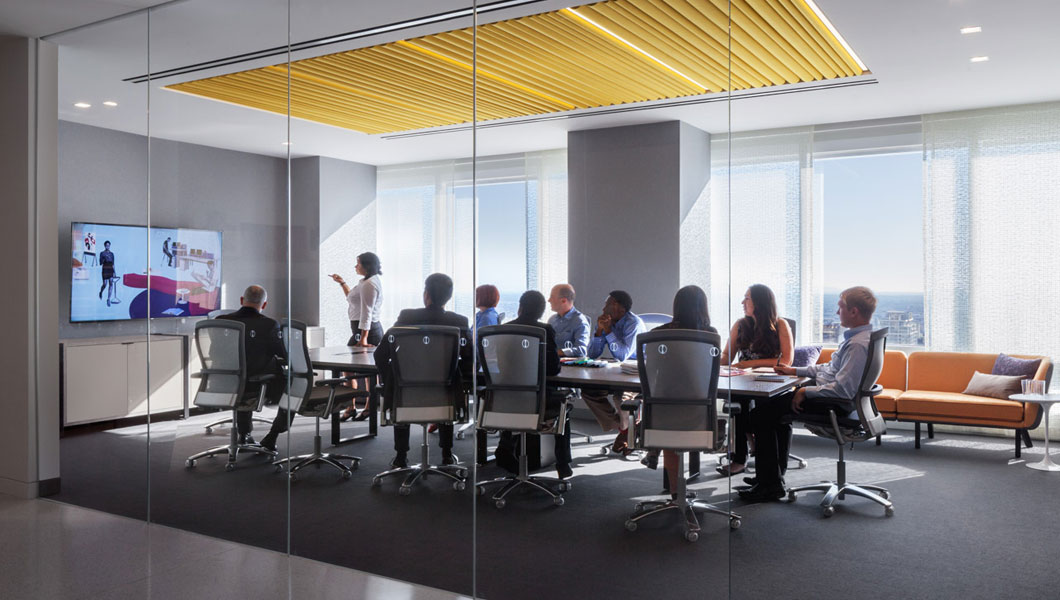 Knoll Shared Spaces Assembly Space Conference Room with DatesWeiser Table and Life Chairs
