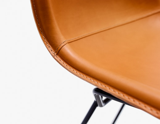 bertoia leather covered side chair