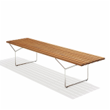KnollStudio Teak Wood Bertoia Bench Side View
