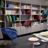 neocon 2018 hospitality at work knolltextiles florence knoll bookcase platner lounge chair grasshopper table knollstudio