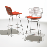 Bertoia Barstools with seat pad in Cato red KnollTextiles upholstery