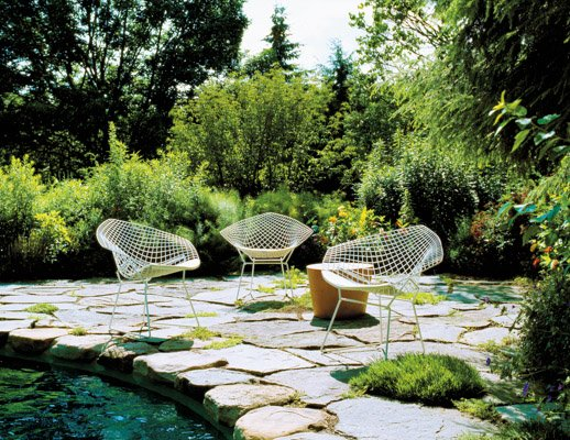 Bertoia Diamond Chairs and Maya Lin stones for indoor or outdoor use