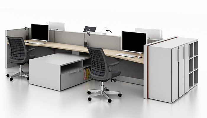 Dividends Horizon<sup>®</sup> primary workstations with Faceted Worksurfaces, Remix™ Task Chairs and Anchor™ Storage