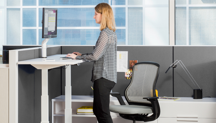 Dividends Horizon® Workstation with Tone™ Height-Adjustable Table, ReGeneration by Knoll® Chair and Sparrow™ LED Light