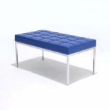 Florence Knoll Bench in blue leather with chrome base