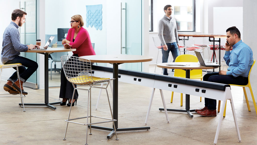 Knoll Shared Spaces Community Space With Horsepower and Bertoia