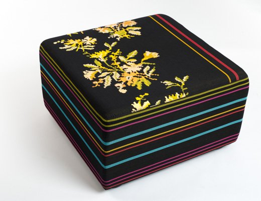 Odyssey Collection Andissa Upholstery Red Yellow Black White Blue Green Floral Graphic Pattern Dorothy Cosonas k. lounge ottoman