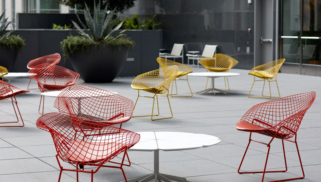 Knoll Shared Spaces Community Space Outdoors with Bertoia Diamond Chairs