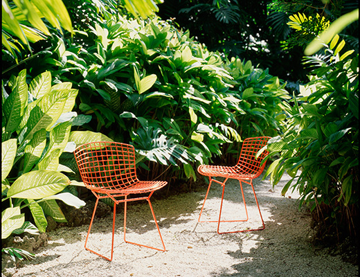 Bertoia Side Chair Red Outdoor Installation