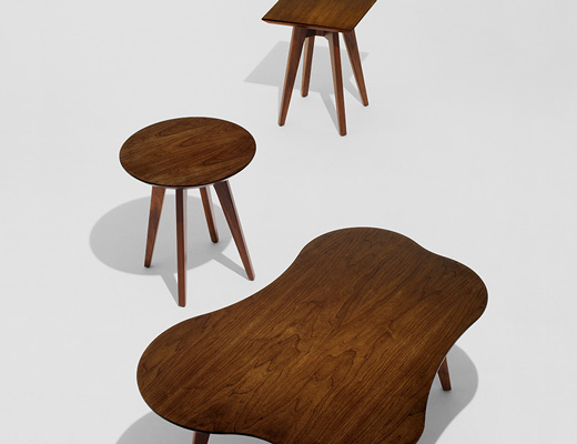 Risom Square, Round and Amoeba side tables in light walnut wood