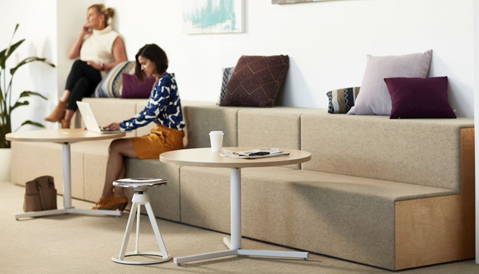 Rockwell Unscripted® Steps with Antenna® Y Base Tables and Piton™ Stool